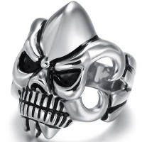 Punk Promotion Silver Color Skull design,Men's domineering personality exaggerated skull ring titanium stainless steel ring punk ring