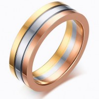 Hight Quality Classic Simple Cool Style Gold Rose gold Plated Male Hot Sale Ring Simple Personality stainless Steel Rings for Men women Wholesale Price