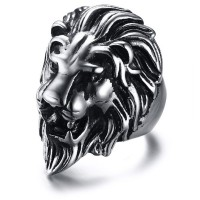 Top Punk Finger Ring Unique Carved Antique SilverLION Rings for Men Women Boho Man Wide Rings Fashion Jewelry