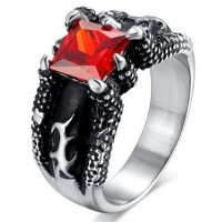 Stainless Steel Men's Rings Red Crystal Fire Dragon Wolf Claw Punk Width 12MM - Adisaer