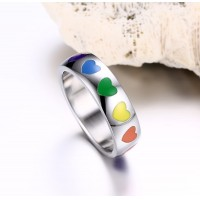 New Custom colorful heart shape enamel Stainless Steel Jewelry Titanium Steel Rainbow Rings for Men and Women Wholesale for Gift