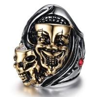 Kito European and American punk style jewelry skull rings for men ring with CZ diamond Rhinestones Diamonds ring