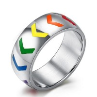 European and American foreign trade Hot wholesale stainless steel jewelry titanium steel rainbow rainbow rings explosion models