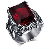 Stainless Steel Men's Rings Red Crystal Ruby Ring,Men's fashion skull ring male rock&punk rings
