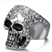 Diamond rhinestone skull ring in punk style,Men/women Large Stainless Steel Ring Silver Death grim Reaper Skull Punk Rock style with diamond