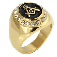 Punk rock Masonic Golden titamium Stainless Steel Casting Men's Rings with rhinestone diamonds,Jewelry Punk Rock Men's Stainless Steel Ring