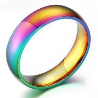 Real Titanium Steel High Polished Multicolor Men's Fashion Rainbow Finger Rings 9mm Size 6-13