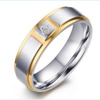 Freemason Men's Silver Ring Free Mason Stainless Steel Master Mason Masonic Ring