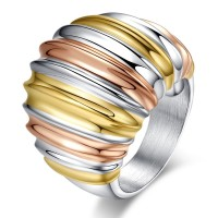Interval Multicolor twill Fashion Rings Fashion Titanium Stainless steel rings wholesale jewelry rose gold+gold+silver color