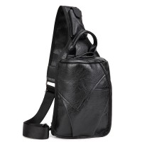 Men's 2-Layer PU Leather Chest Pack Cross Body Sling Bag Hiking Daypack