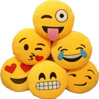 2017 Hot 18 Styles Soft Emoji Smiley Emoticon Yellow Round Cushion Pillows Stuffed Plush Toy Doll Christmas Gift Free Shipping