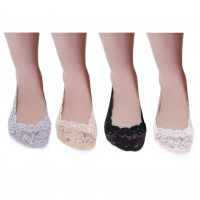 Imaly Women's No Show Silicone Heel Grip Socks Non-skid Ankle Lace Socks For Women, 4 Pairs
