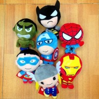 7Pcs/Lot Superhero Captain America Iron Man Superman Plush Toys Kids Birthday gift Movie Dolls Collection Free Shipping