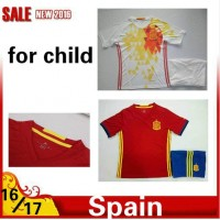 2016 2017 Thailand quality Spain Soccer jersey kids kits 16/17 Spain survetement child football jersey maillot de foot Free shipping