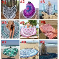 36 Types Summer Large Polyester Printed Round Beach Towels With Tassel Circle Beach Towel Serviette De Plage 150*150cm