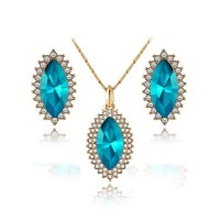 Fashion 18K Rose Gold Plated Oval Blue Diamond Necklace Pendant With Earrings Luxury Suit