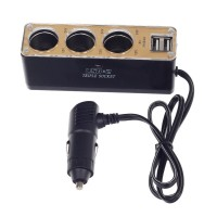 WF-037 Car Cigarette Lighter One In Three / Dual USB Power Adapter - Black & Gold