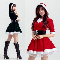 2016 Christmas Sexy Hooded Dress with Belt Red Cosplay Party Costume