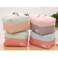 Korea style lovely waterproof Storage bag Wash  Wave point Cosmetic bag   underwear Finishing package