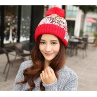 2016 winter women warm Hats Knitted hat Color mixing Plus velvet Thickening Lace flowers Cloth Wool cap Female