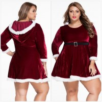 2016 new Plus size women Christmas Sexy red Christmas velvet long - sleeved dress