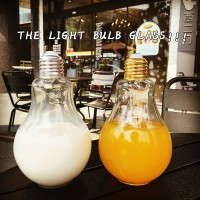 South Korea ulzzang harajuku personality light bulb transparent glass cup creative lovely students with a cup of milk