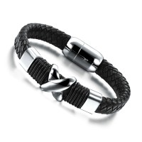 New shop jewelry Europe and the United States leather bracelet Men's fashion titanium steel bracelet Male decorative bracelets N902