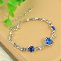 Han edition popular classic the heart of the ocean crystal bracelet Women's fashion zircon hearts deserve to act the role of hand act the role ofing is tasted