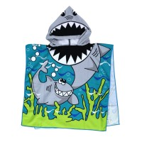 Cartoon Printing Hooded Towel for Children Shark Pattern Towel
