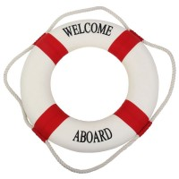 Navy Accent Nautical Welcome Aboard Decorative Cloth Life Ring Buoy Room Decor