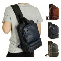 Fashion Men leather Shoulder chest Bag Messenger Bag Casual Travel Crossbody Bag Big Retro Military Chest Bag