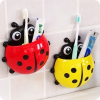 Creative Bathroom Accessories Lovely ladybird Power Sucker Toothbrush Rack Toothpaste Holder Stand storage organizer