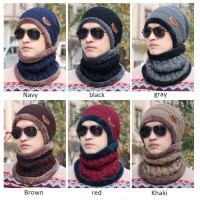 Fashion outdoor Beanies Knit Warm winter scarf hat neckerchief Fur Warm Baggy Wool Knitted Hat For Men women
