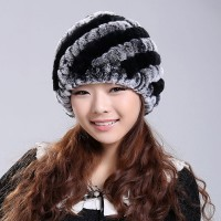 2016 Newest Women's Fashion Real Knitted Rex Rabbit Fur Hats Lady Winter Warm Charm Beanies Caps Female Headgear