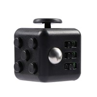 FireAngels Squeeze Fun Stress Reliever Gifts Fidget Cube Relieves Anxiety and Stress Juguet For Adults Fidgetcube Desk Spin Toys(Black)