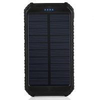 FireAngels Solar Charger, Portable Power Bank 10000mAh Dual USB Battery Charger External Backup Power Pack for Cellphone Camera GPS Tablets and Other 5V USB Devices(Black)