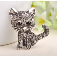 FireAngels Cute Small Cat Brooches Pin Up Jewelry For Women Suit Hats Clips Antique Silver Corsages Brand Bijoux Costume Jewelry Free Shipping