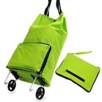FireAngels Collapsible Foldable Rolling Shopping Bag on Wheels, Reusable Folding Shopping Cart Trolley Bag with Wheel , (Green)