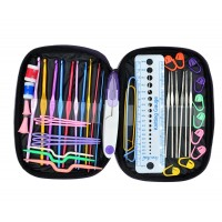 FireAngels 49 Pieces Crochet Hooks Yarn Knitting Needles Sewing Tools Full Set Knit Gauge Scissors Stitch Holders