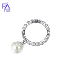 FREE SHIPPING 925 fashion sterling silver pearl rings for women 尺