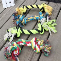 Pet Chew Knot Toy Cotton Braided Bone Rope Color Puppy Dog 5PC Hot