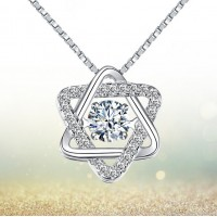 Sterling Silver Pentagram Pentacle Star Amulet Protective Pendant Necklace 16'' 18'' for Women Rhodium Plated White Topaz Judaic Star of David Pendant Necklace