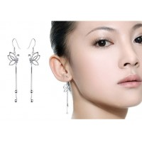 Pure 925 Sterling Silver Open Half Butterfly Wing Dangle Hook Earrings