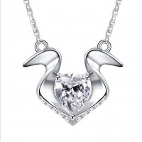 Diamond Heart Necklace 925 Sterling Silver Pendant Necklace Brand New Cute Necklace Free Shipping