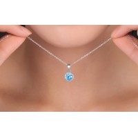 925 Sterling Silver Blue Crystal Rhinestone Pendant Necklace Jewelry Charm Ocean, 18