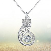 Brand New 925 Sterling Silver Necklace Fox Animal Diamond Pendant Cute Jewelry Free Shipping