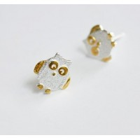 Owl Stud Earrings Silver Plated Earring for Women Gift Idea Cute Grils Jewelry Free Shipping