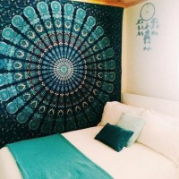 Indian Mandala Tapestry Hippie Wall Hanging Green Bohemian Bedspread Home Decor