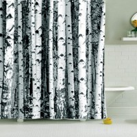 Nordic Shower Curtain Polyester Birch Rustic Modern Minimalist  Black White Shower Curtains Blackout Panel