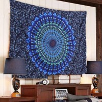 Indian Mandala Tapestry Hippie Wall Hanging Blue Bohemian Bedspread Home Decor